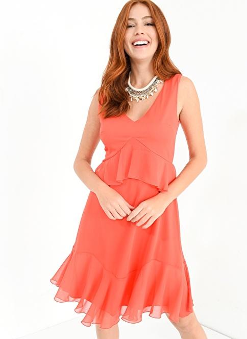 People By Fabrika Fırfır Detaylı Elbise Mercan